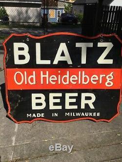 Original 1940s Blatz Beer Double Sided Porcelain Sign
