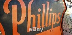 Original 1950s 48 Phillips 66 Advertising Sign Double Sided Porcelain With Ring