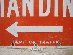 Original 1950s BUS STOP Sign double sided metal no standing old retired street
