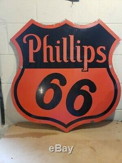 Original 1955 30 Inch Phillips 66 Advertising SignDouble Sided PorcelainSPS 55