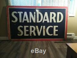 Original 1958 Standard Service Double-sided Porcelain Gas Station Sign Very Nice