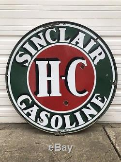 Original 48 Sinclair HC Sign With Ring Double Sided Porcelain Gasoline Oil