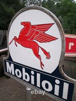 Original DSP MOBILOIL Double Sided Porcelain Lollipop Keyhole base sign post