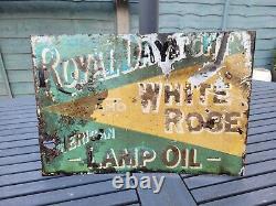 Original Double Sided Flange Royal Daylight Lamp Oil Enamel Sign 16 x 11