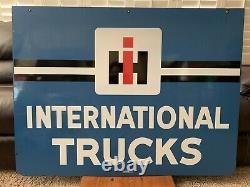 Original Double Sided Porcelain International Harvester Trucks Sign Walker Gas