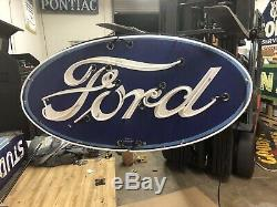 Original Double Sided Porcelain Neon Ford Dealership Sign RARE VERSION