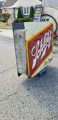 Original Double Sided Schlitz Beer Porcelain Neon Sign