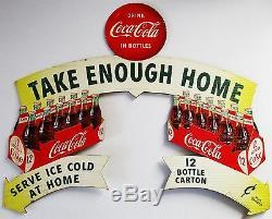 Original Doublesided Coca-Cola Cut-Out Cardboard Advertisement circa 1954