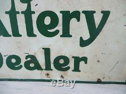 Original Hartford Battery Dealer Flange Sign Double Sided American Art Works