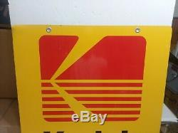 Original Large Metal Kodak Film & Processing Camera Shop Store Sign Double Sided