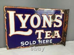 Original Lyons Tea Double Sided Enamel Advertising Sign, c. 1930
