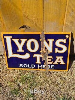 Original Lyons Tea Double Sided Enamel Advertising Sign, c. 1930, Bruton, London