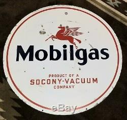 Original Mobilgas Socony Double Sided Porcelain Sign gas oil Mobil Vacuum 30