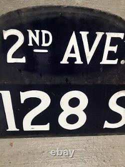 Original New York city Street Sign 1920s. Double Sided, Porcelain, Hump Back