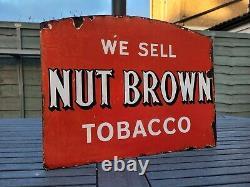 Original Nut Brown Tobacco Double Sided Flange Enamel Sign 18 x 13.5