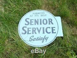 Original Old'Senior Service' Tobacco Round Tin Sign (double sided), c1940's
