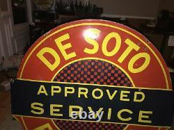 Original Plymouth De Soto Service Double Sided Porcelain Sign