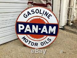 Original Porcelain Pan Am 42 In. Gasoline Double Sided Advertising Gas Oil Sign
