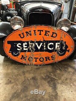 Original Porcelain United Motors Service 28.5 X 48 Double Sided Sign