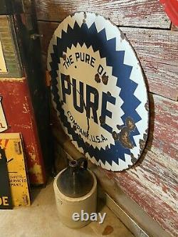 Original Pure Porcelain Double Sided 42 Sign Gasoline & Oil Station