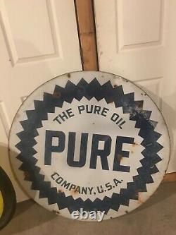 Original Pure Porcelain Steel Double Sided 42 Sign Gasoline & Oil Station
