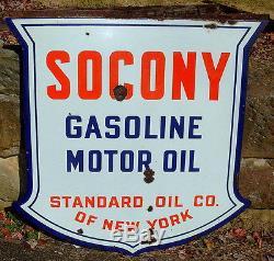 Original Socony Gasoline Motor Oil Double Sided Porcelain Sign