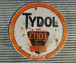 Original Tydol Ethyl 30 Porcelain Double Sided Sign Metal Vintage Gas Station