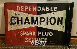 Original Vintage 1950's Double Sided Flange Champion Spark Plug Metal Sign