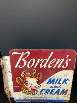 Original Vintage Borden's Milk and Cream Flange Double Sided Sign Rare