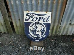 Original Vintage Classic Ford Dealers Enamel Sign. Double Sided. Very Nice
