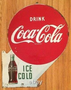 Original Vintage Double Sided Metal Coke Coca-Cola Flange Sign Ice Cold