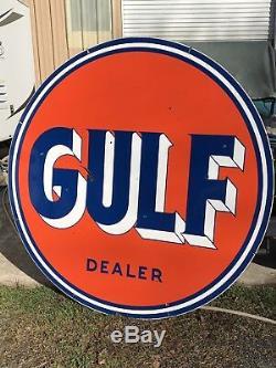 Original Vintage Double Sided Porcelain Gulf Sign 66