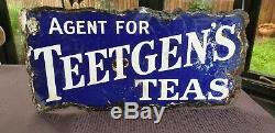 Original Vintage Enamel Sign Teetgens Tea Double Sided