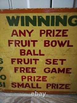 Original Vintage Hand Painted Double Sided Fairground Sign'winning Numbers
