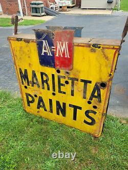 Original Vintage Marrietta Paints Porcelain Double Sided Neon Sign 43 x 43 x 9