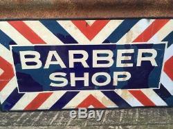 Original Vintage Porcelain Barber Shop Double Sided Flange Sign 12x24 Inch Old