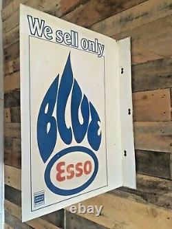Original Vintage We Sell Esso Blue Paraffin Double Sided Metal Flange Shop Sign