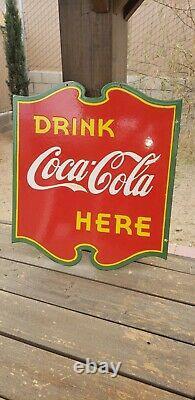 Original metal double sided porcelain coca cola sign