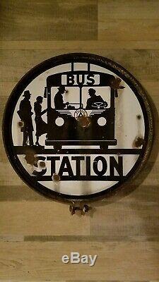 Original public service bus stop station 16 porcelain enamel double sided sign
