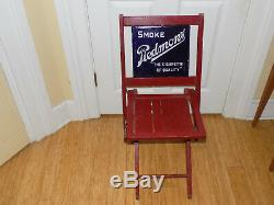 Piedmont Cigarettes Double Sided Embossed Porcelain Advertising Sign Wood Chair