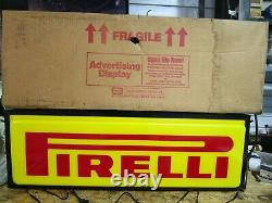 Pirelli Double Sided Lighted Sign 36 X 12 New Old Stock Original box Dualite