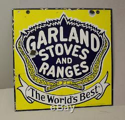 Porcelain Antique Double Sided Garland Stoves & Ranges Advertising Sign
