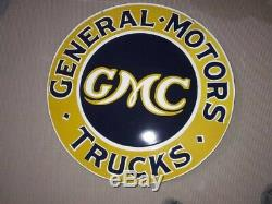 Porcelain GMC Sign SIZE 30 Double Sided Pre-Owned