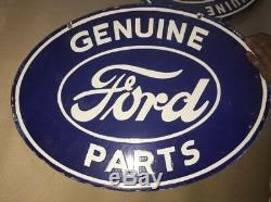 Porcelain Genuine Ford Parts Enamel Sign 16 X 24 inches double Sided