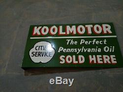 Porcelain Koolmotor enamel sign 22 X 12 inch Double Sided Flange