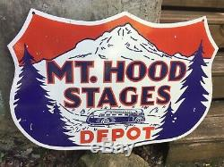 Porcelain Mt. Hood Bus Depot enamel Sign SIZE 30 x 30 Inches Double Sided