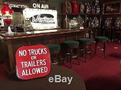 Porcelain Parking Sign NO TRUCKS or TRAILERS Double-Sided 10 x 10