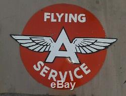 Porcelain Sign Flying A Service DOUBLE SIDED Enamel Sign Size 36 Inches