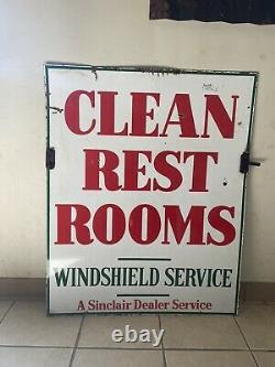 Porcelain Sinclair Clean Restroom Swinging Double Sided Sidewalk Sign With HANGERS