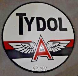 Porcelain TYDOL FLYING Enamel Sign SIZE 42 ROUND Double Sided